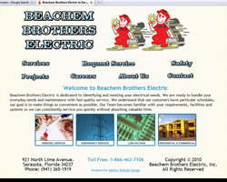 Beachem Brothers Electric Custom Website re-Design