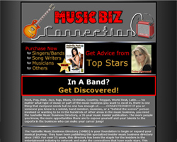 Music Biz Connections Custom Website Design